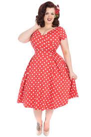 red polka dot ursula swing dress lady voluptuous