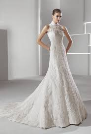 neck lace mermaid wedding dress