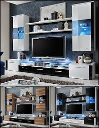 wohnwand anbauwand wohnzimmer schrankwand fresh hochglanz led beleuchtung top ebay