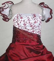 floral embroidery wine red and white flower pageant dress