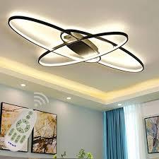wohnzimmerle led modern deckenleuchte esszimmerle dimmbar mit fernbedienung oval 3 ring design metall acryl schirm kronleuchter für küche
