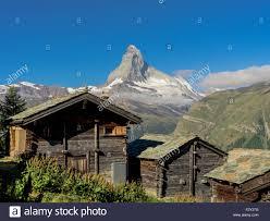 100 Log Cabins Switzerland Cabins Sit Under Matterhorn Mountain Stock Photo