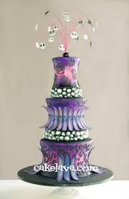 Gothic Inspired Purple And Black Wedding Cake