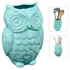 MyGift Aqua Blue Owl Design Ceramic Cooking Utensil Holder Multipurpose Kitchen Storage Crock