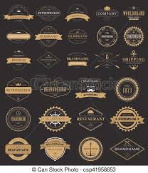 Vintage Labels Logo With Crown Anchor Arrow Vector