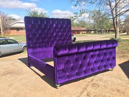 Purple Velvet King Headboard by Sleigh Bed Tufted Channel Velvet Extra Tall Headboard