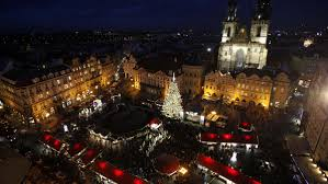 CHRISTMAS TREE ILLUMINATED ON EVE OF ST NICHOLAS DAY IN PRAGUE