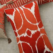 Embroidered Ikat Lumbar Pillow Cover Coral