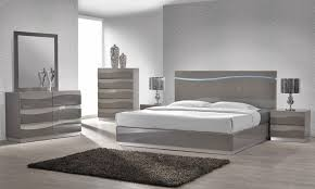 Grey Lacquer Bed With LED Lights