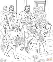 Click The Children Greeting Jesus Coloring Pages