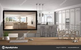 100 Interior Design Words Architect Designer Project Concept Wooden Table With House Keys 3D