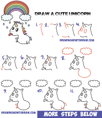 How To Draw A Cute Kawaii Unicorn With Tongue Out Under Rainbow Easy Step By