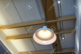 100 Exposed Ceiling Design Industrial Pandent Lamp With White Metal Shade Hanging With Chain