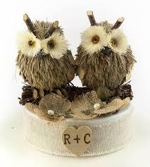 Rustic Owl Wedding Cake Toppers Topper Brown Burlap Flowers