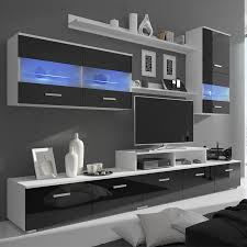 black 7 black high gloss wall display cabinet tv unit led
