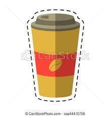 Paper Coffee Cup Hot Cut Line