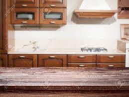Kitchen Interior Empty Wooden Table Closeup Horizontally Stock Photo