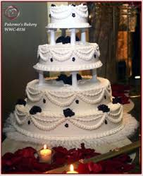 Traditional White Buttercream Wedding Cake with Seperated Tiers 453