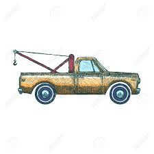 100 Pickup Truck Crane Tow Car With Vector Illustration Stock
