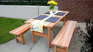 picnic table and two benches diy done right