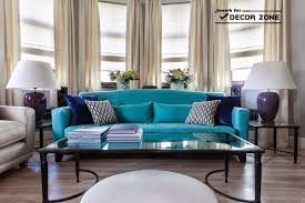black and white living room with teal interior design