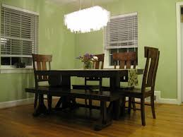 Impressive Green Dining Room Decoration Ideas With Cool White Glass Pendant Lamps Over Wood Table Set And Benches In Nice Classic