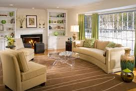 funiture living room decor ideas in green and beige theme with