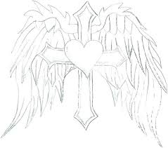Wings Coloring Pages Angel Cross With Medium Size Of
