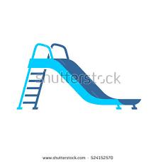 Slide Playground For Children Blue Color Illustration Side View