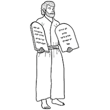 Moses Holding 10 Commandments Crosses Red Sea Coloring Page