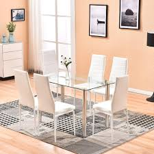 Amazon.com - 4HOMART Dining Table With Chairs, 7 PCS Glass ... Liam Ding Set 1 Table 6 Chairs Extendable Teak By Hans Olsen For Price And Buy Seater Round Beige Marble With Wooden Cushioned Chairs With Six Round Table With Chairs Earl Kitchen For Aripeka Solid Mahogany Wood Ding Table Amazoncom Cover Cloth Home Modern Golden Top Luxury My Rectangle Birch White Mdf Nordic Design Setslate Tablehideaway