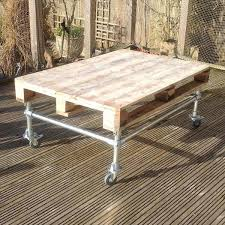 DIY Outdoor Pallet Coffee Table with Metal Base