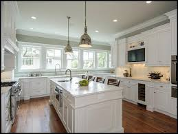 Grey Wall Paint And White Cabinets For Kitchen Decoration With Wooden Floor Recessed Lighting Ideas