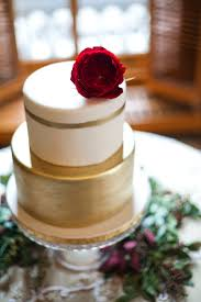 Ivory And Gold Wedding Cake With Red Garden Rose