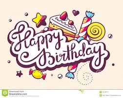 illustration of calligraphy text happy birthday with swee