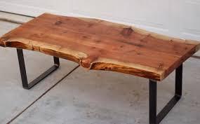 coffee table mid century wood slab coffee table natural wood