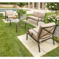 Outdoor Bench Cushions Home Depot by Hampton Bay Granbury 4 Piece Metal Patio Seating Set With Fossil