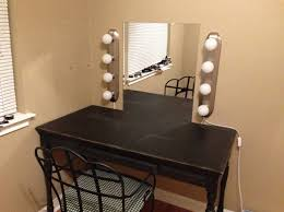 Modest Diy Makeup Vanity Mirror With Double Side Vertical Paneled Lights Featuring Dark Rustic Table Under Knobless Drawer Iron Back Fabric Chair