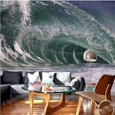 Wall Wallpaper 3d Art Background Photography Artistic Ocean Sea Spray Hotel Bedroom Mural Custom Painting