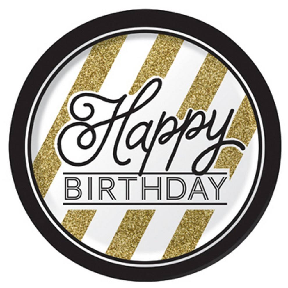 "Creative Converting Sturdy Style Round Paper Plates - 8ct, 8.75"", Black and Gold, Happy Birthday"