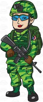 A Female US Marine Corps Soldier In Her Utility Uniform Cartoon Clipart Vector