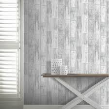1000x1000 Arthouse Salcombe Wood Panel Pattern Wallpaper Distressed Faux Effect 693201 White