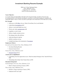 Resume Examples Best Good Career Objective For Investment Banking Example A