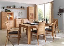 massivholz esszimmer komplett tisch 150x95 cm kernbuche massiv esszimmerstühle leder polster braun casade mobila