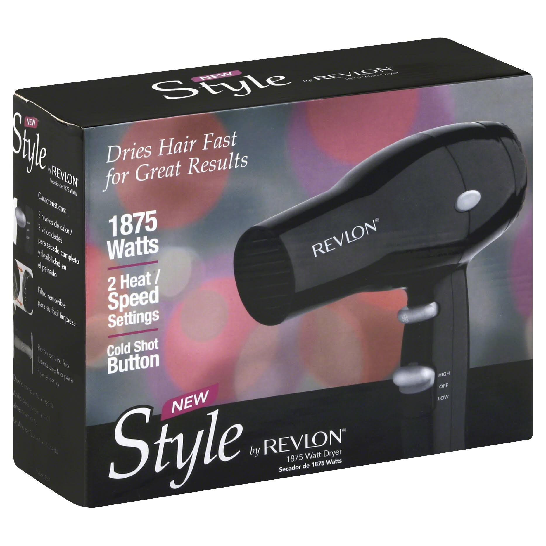 Revlon New Style Compact Travel Hair Dryer - Black, 1875W