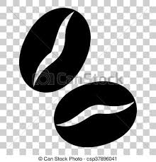 Coffee Beans Sign Flat Style Black Icon On Transparent Background