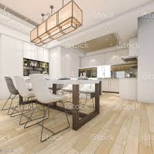 Modern White Kitchen Interior 3d Rendering Stockfoto Und 3d Rendering Beautiful Modern White Kitchen And Dining Room Stock Photo Image Now