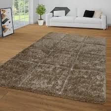 hochflor teppich wohnzimmer beige braun shaggy weich 3 d