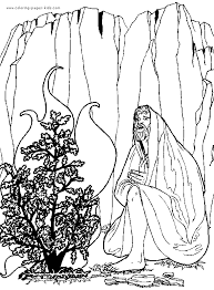 Moses With Burning Bush Color Page