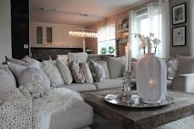 Romantic Winter Living Room Decorating Ideas With Rustic Wooden Coffee Table And White Sectionals